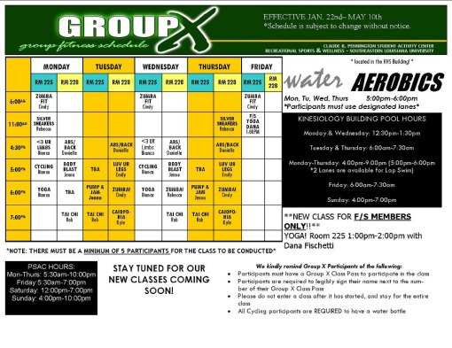 Group X Schedule Spring 2013!