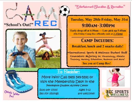 School's Out in a little over 2 weeks! Camp Rec is here!