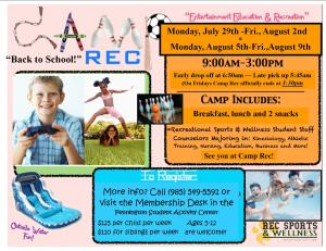 Camp Rec Back to School Blast 7-29 to 8-2 2013r