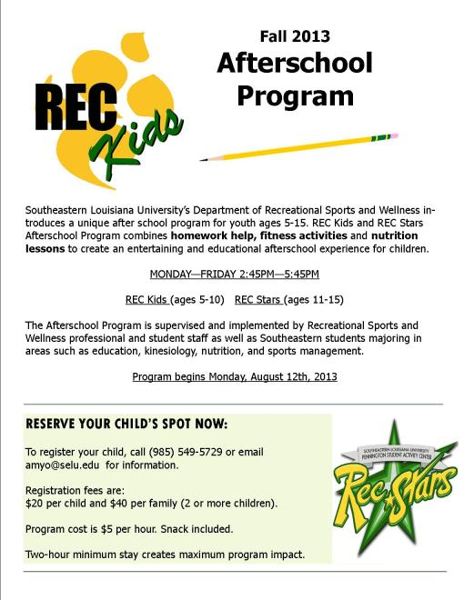 Rec Kids After School Program Information for Fall 2013!