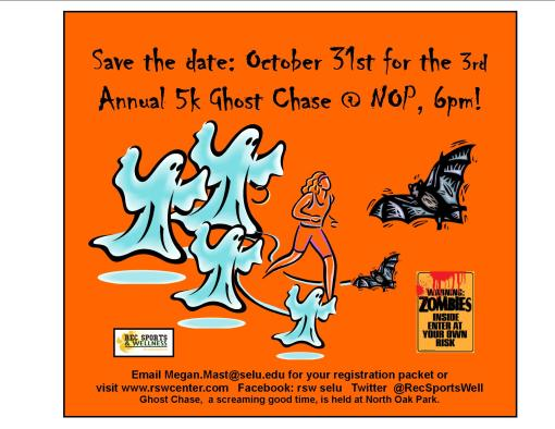 The 3rd  Annual 5K Ghost Chase is coming! Join us October 31st for a scary good time!