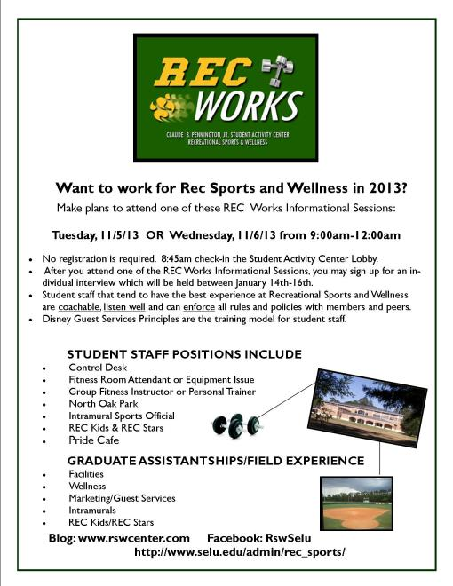 Rec Works is coming your way on Tuesday, 11/5 and Wednesday, 11/6!
