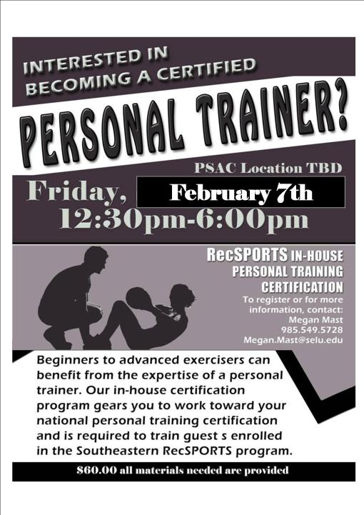 Want to become a personal trainer? Rec Sports can certify you in-house!