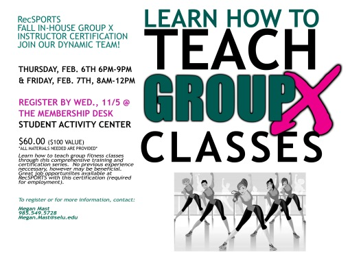 Want to become a Group X Instructor? Rec Sports can certify you in-house!
