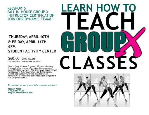 Group X In-House Certification will be held April 10th and 11th!