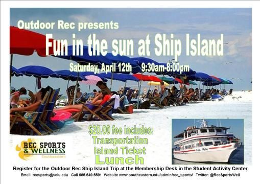 Let's get some sun and have some fun at Ship Island, Sat., 4/12!