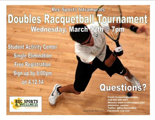 Let's play doubles racquetball Wednesday! Register by 6pm day of!