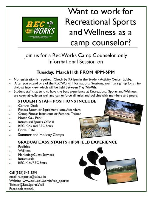 Want to be a camp Counselor for Recreational Sports and Wellness? Attend Rec Works!