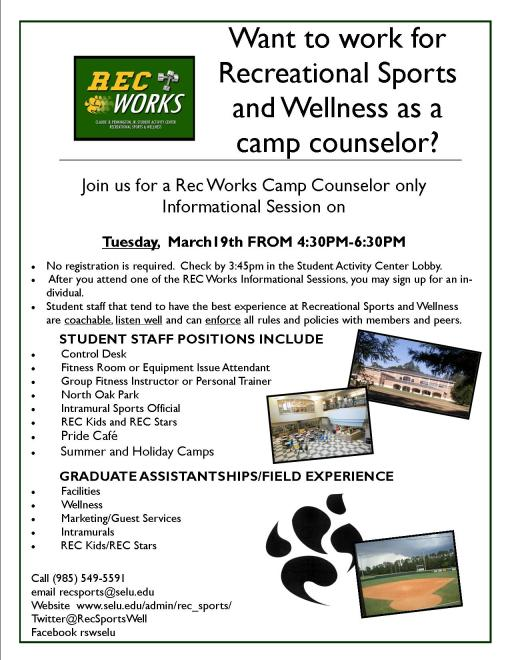 Rec Works for Camp Rec Counselors Wednesday, March 19th!