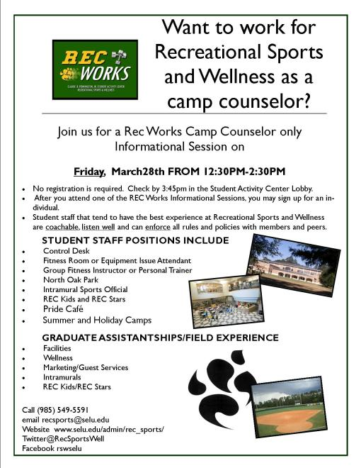 Want to work for Camp Rec? We've added another Rec Works on Friday, 3/28 from 12:30pm-2:30pm!